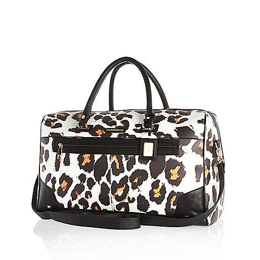 White leopard print weekend bag