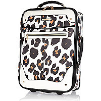 White leopard print wheelie suitcase