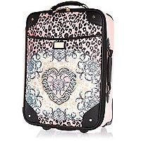 Pink leopard scarf print wheelie suitcase