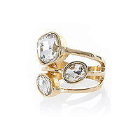 Gold tone three stone ring
