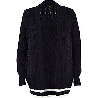 Navy cable knit cricket cardigan