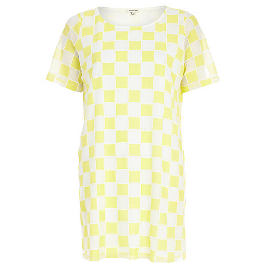 Yellow checkerboard t-shirt dress