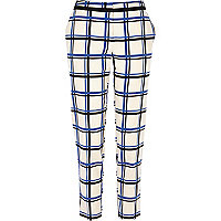 White check grid print slim cigarette pants