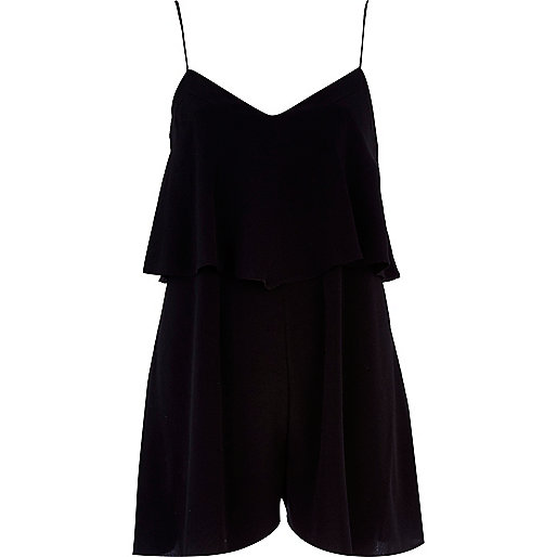 Black double layer cami playsuit