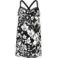 Black floral print lace strap cami top