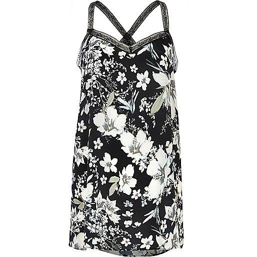 Black floral print lace strap cami top