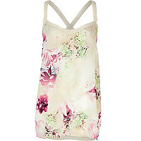 Cream floral print lace strap cami top
