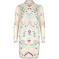 Light pink embellished high neck dress