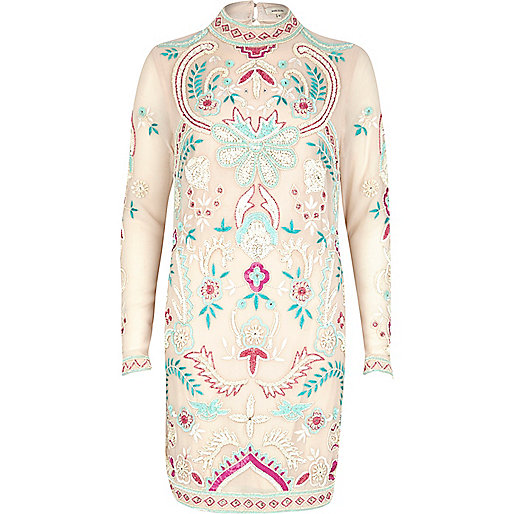 Light pink embellished high neck dress