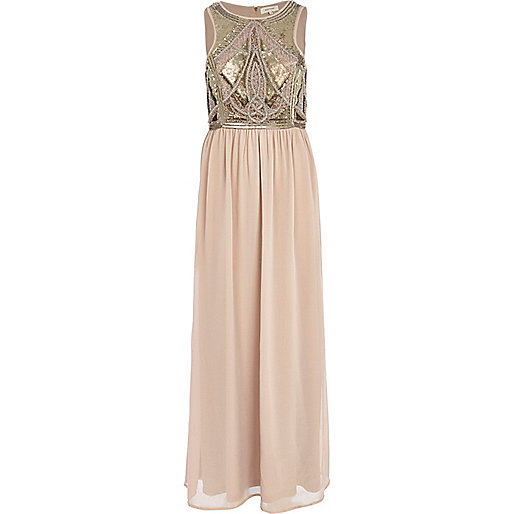 Beige embellished chiffon maxi dress
