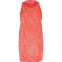 Pink boucle necklace trim shift dress