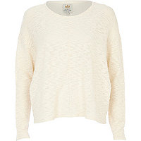 Cream textured oversized crop jumper
