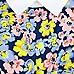 Blue floral print contrast collar top