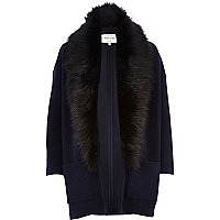 Navy square quilted faux fur collar jacket