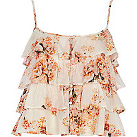 Cream floral ruffle crop top