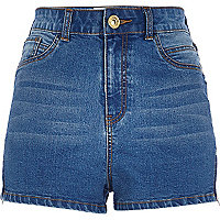 Mid wash high waisted stretch denim shorts