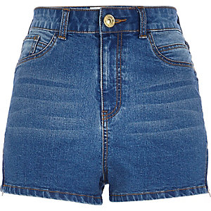 Mid wash high waisted Nori denim shorts