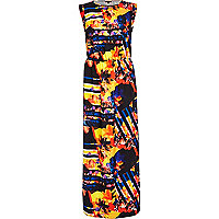 Black abstract print roll sleeve maxi dress