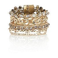 Gold tone embellished gateway bracelet
