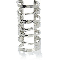 Silver tone elongated cut out cuff bracelet