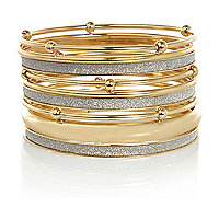 Gold tone glitter bangle pack