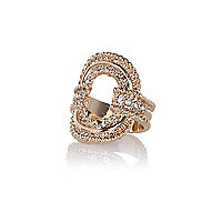Gold tone textured oval ring