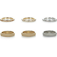 Gold tone eclectic ring pack