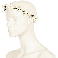 Cream rose hair garland