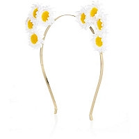 White mini daisy bunny ears headband