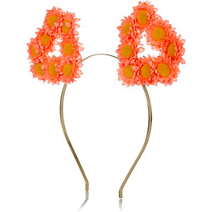 Coral floral hear ear hairband