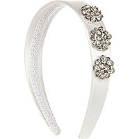 White encrusted flower alice band