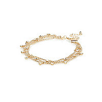 Gold tone crystal drop anklet