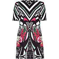 Black abstract print shift dress