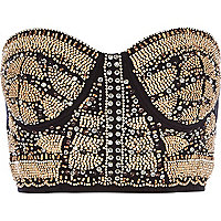 Black embellished front bustier crop top