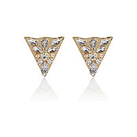Gold tone bejewelled collar tips