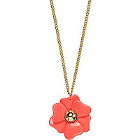 Coral long flower necklace