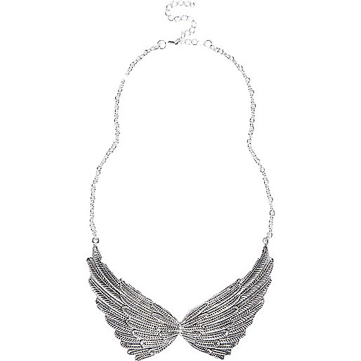 Silver tone wing statement necklace