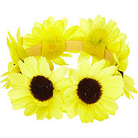 Yellow sunflower bun top hair garland