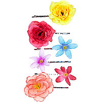 Eclectic tropical flower hair slides pack
