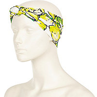 Yellow lemon print turban-style headband