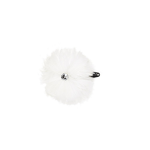 White gem stone flower snap hair clip