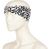 White geo embellished turban-style headband