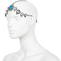 Blue gem stone hair crown