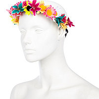 Red tropical flower hair garland
