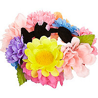 Multicoloured flower bun top hair garland