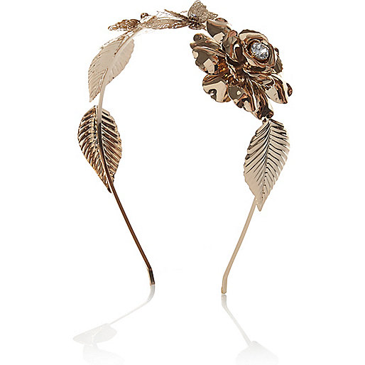 Gold tone flower and butterfly headband