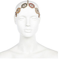 Gold tone jewelled stretch headband