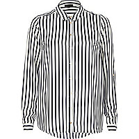 Navy and white striped long sleeve shirt
