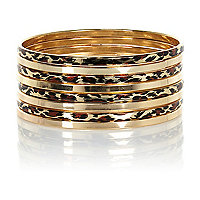 Gold tone and leopard print bangle pack