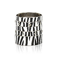 Black and white zebra print bangle pack